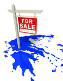 Greece crisis conceptual image. Greece blue map with red sign for sale crisis concept with clipping paths Stock Photos