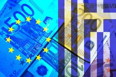 Greece crisis. European flag and flag of Greece, translucent bills Stock Photos