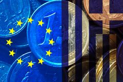 Greece crisis. European flag and flag of Greece, translucent one Euro coin Stock Images