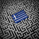 Greece Crisis. Or Greek debt crisis and austerity management concept as the blue and white flag inside a complicated maze or labyrinth as an Athens financial Royalty Free Stock Photos