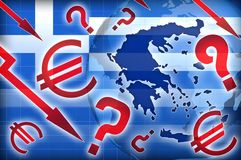 Greece crisis political questions. Background Vector Illustration