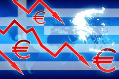 Greece crisis red arrows and euro currency symbol news background. Illustration royalty free illustration