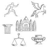 Greece culture and history icons Stock Photos