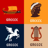 Greece culture, history and mythology icons Stock Photo