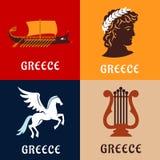 Greece culture, history and mythology icons Stock Photo
