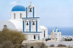 Greece. The Cyclades Islands. Santorini on a Sunny day. The place of religion Royalty Free Stock Photos
