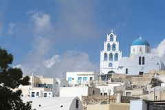 Greece. The Cyclades Islands. Santorini on a Sunny day. The place of religion Royalty Free Stock Image