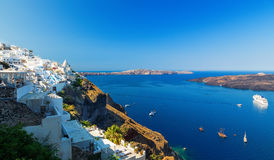 Greece. Cyclades Islands - Santorini Thira town with typical Cycladic architecture and view on the Caldera, Bay and. Greece. Cyclades Islands - Santorini Thira Stock Image