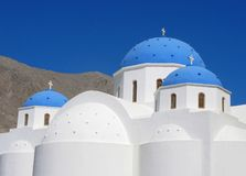 Greece, Santorini, Timiou Stavrou church in Perissa, Cycladic architecture. Greece, Cyclades, Santorini. The church of Holy Cross in Perissa village. It is one Royalty Free Stock Photos