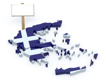 Greece 3d map with blank signboard Royalty Free Stock Images
