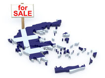 Greece 3d map with sign for sale Royalty Free Stock Images