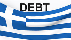 Greece debit crisis concept. With 3d render of Greek flag and word Debt Stock Photo