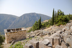 Greece. Delphi. Athenian Treasury in Archaeologica Stock Photo