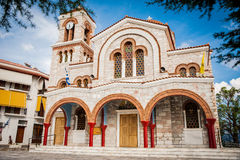 Greece, Delphi, August 2016, Church in the middle of town. Greece, Delphi, August , Church in the middle of town, beautiful colorful place Stock Photography