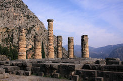 Greece Delphi Pillars of Temple of Apollo Stock Photo
