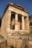 Greece. Delphi. Treasury of Athens stock photography