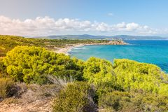 Greece. Destination. Skiathos island. Beautiful Seascape with greek Coast in Skiathos Island, Greece with turquoise water and pine trees royalty free stock image