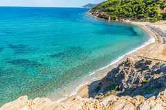 Greece. Destination. Skiathos island. Beautiful Seascape with greek Coast in Skiathos Island, Greece with turquoise water and pine trees stock photo