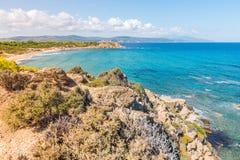 Greece. Destination. Skiathos island. Seascape with greek Coast in Skiathos Island, Greece with turquoise water royalty free stock photography