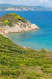 Greece. Destination. Skiathos island. Seascape with greek Coast in Skiathos Island, Greece with turquoise water stock photos