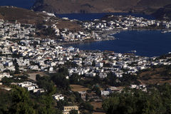 Greece Dodecanese Islands Patmos. Skala viewed from Monastery of Saint John the Theologian - Unesco World heritage site stock images
