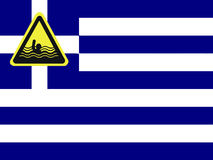 Greece is drowning in debts. Greece has accumulated huge debts and is suffering from spending cuts Stock Photo