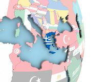 Greece with flag on globe Royalty Free Stock Images
