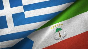 Greece and Equatorial Guinea two flags textile cloth, fabric texture. Greece and Equatorial Guinea two folded flags together stock illustration