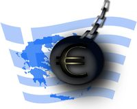 Greece euromenace. Demolish ball with euro symbol on chain over greece flag and map vector illustration