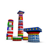 Greece ,Europe and euro countries 3d illustration Royalty Free Stock Photos
