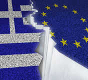 Greece Europe Failure. Concept as a dividing crack on a broken road with the European union and Greek flag as a failure or potential grexit deal because of the Stock Photo