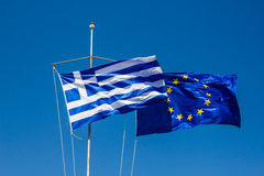 Greece and Europe flag on the wind Royalty Free Stock Photography