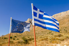 Greece and Europe Flags Stock Images