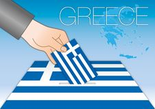 Greece, Europe, political elections symbols. Greece, elections, voting box and greek flag with symbols, vector illustration stock illustration