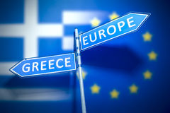 Greece Europe Road Sign. A road sign Greece and Europe in different directions Royalty Free Stock Photography