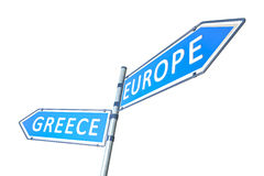 Greece Europe Road Sign. A road sign Greece and Europe in different directions Stock Image