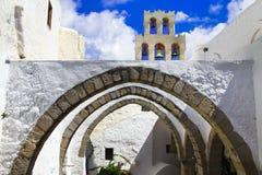 Greece famous monasteries - Monastery of Saint John the Theologian in Patmos stock photo