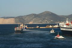 Greece, Ferry boat traffic Stock Photography