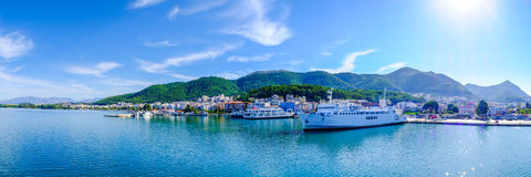 Greece ferryboat harbour panoramic shot Royalty Free Stock Image