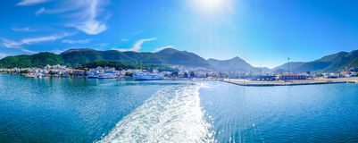 Greece ferryboat harbour panoramic shot. Royalty Free Stock Images