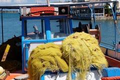 Greece fishing net yellow Stock Image