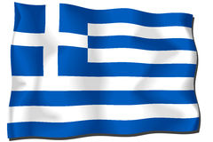 Greece Flag. Flag of Greece waving in the wind Vector Illustration