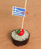 Greece flag on a apple cupcake Stock Photos