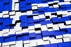 Greece flag background formed from digital mosaic tiles, 3D rendering. Modern 3D rendered concept of numerous square tiles sliding together to form the national Royalty Free Stock Photo