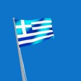 Greece flag on blue background. 3d illustration Stock Images