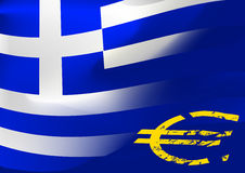 Greece flag with EU symbol Stock Photography