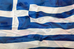 Greece flag. Euro money. Euro currency. Colorful waving greece flag on a euro money background Royalty Free Stock Image