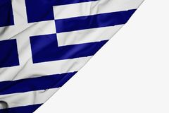 Greece flag of fabric with copyspace for your text on white background vector illustration