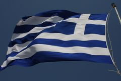 Greece flag - Flag of Greece. Hellenic Republic. Greece flag - Flag of Greece. Hellenic Republic Royalty Free Stock Photos