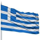 Greece Flag on Flagpole Stock Image